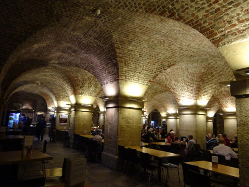 Cafe in the Crypt - the busy cafe area - in March 2020