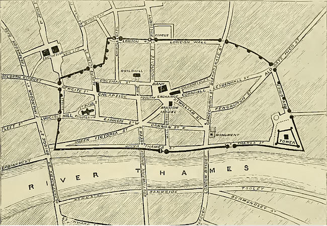 Plan of Roman London Wall, with modern street names