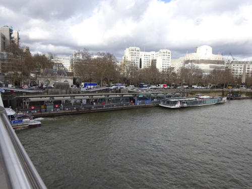 The River bus station near to Embankment - in March 2020