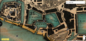 St Katherines docks in the Greenwood map of 1828 - see this at Layers of London