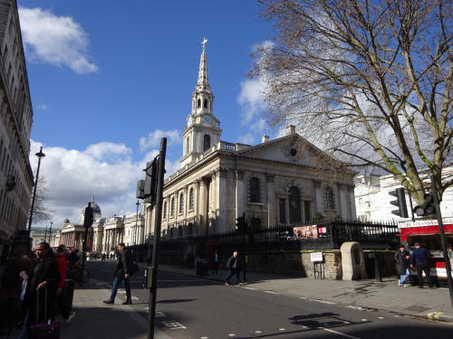 St Martins in the Fields, Duncanon street - in March 2020